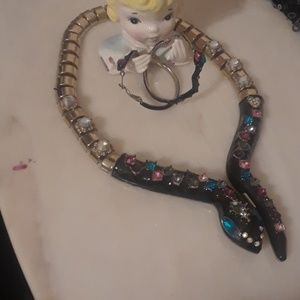 Betsey John snake Neclace and hoop earrings